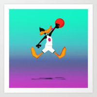 space jam Art Prints featuring Daffy Duck, Space Jam by iamcrime