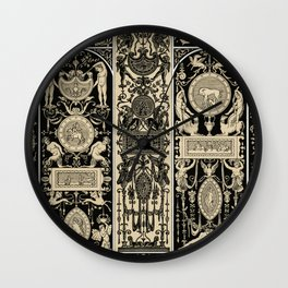 Renaissance pattern from L'ornement Polychrome (1888) by Albert Racinet Wall Clock