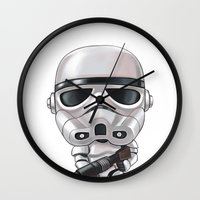 storm trooper Wall Clocks featuring STORM TROOPER by Leoren