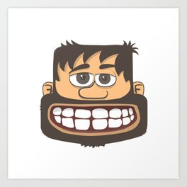 Tete Au Carre - square head. keep smile! Art Print
