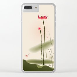 Oriental Lotus 002 Clear iPhone Case