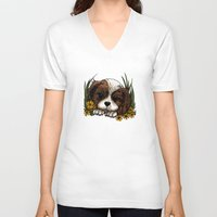 puppy V-neck T-shirts featuring Puppy by Adamzworld