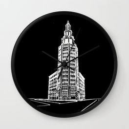 the Electric Tower at Night Wall Clock