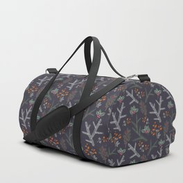 Seamless pattern with floral branches winter christmas hand drawn texture background Duffle Bag