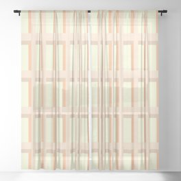 80s Mid Century Rectangles Sheer Curtain
