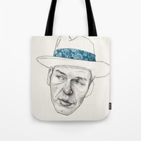frank sinatra Tote Bags featuring Sinatra by Jason Ratliff