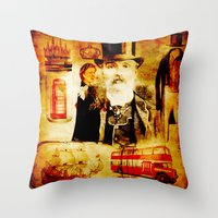 england Throw Pillows featuring England Vintage  by Ganech joe