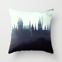 dumbledore Throw Pillows featuring Harry Potter - Hogwarts by Juniper Vinetree