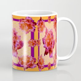 Purple-Golden Antique Style English Roses Pattern  Coffee Mug