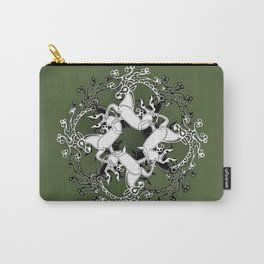 Celtic or Viking Deer Pattern - Green Carry-All Pouch