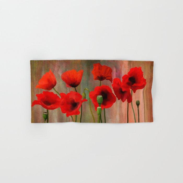 Watercolor Poppies Hand & Bath Towel