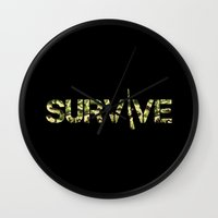 army Wall Clocks featuring Survive (Army) by eARTh