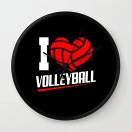 Volleyball Love Heart Ball Sports Team Set Players Wall Clock