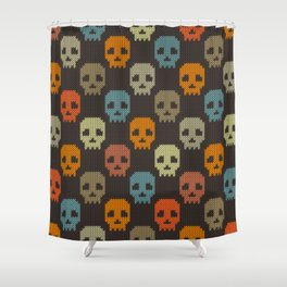 Knitted skull pattern - colorful Shower Curtain