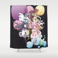 madoka Shower Curtains featuring Puella Magi Madoka Magica - Only You by Yue Graphic Design