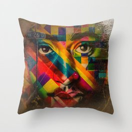 African American Oil Painting 26th Street Miami, Florida Mural 'Legends of Hip Hop' Throw Pillow