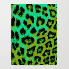 Aqua and Apple Green Leopard Spots Poster
