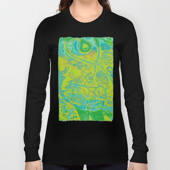 Fancy abstract yellow blue green graffiti design Long Sleeve T-shirt