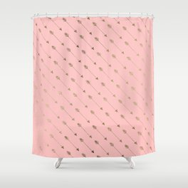 Bohemian elegant faux gold coral modern arrow pattern Shower Curtain