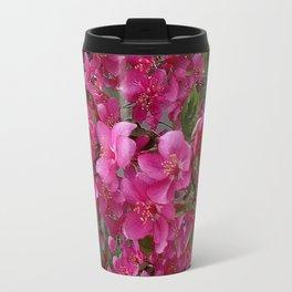 FUCHSIA PURPLE CRAB APPLE FLOWERS  FLORAL ART Travel Mug