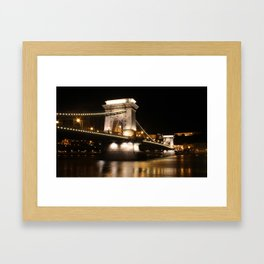 Chain Bridge Budapest at night Framed Art Print
