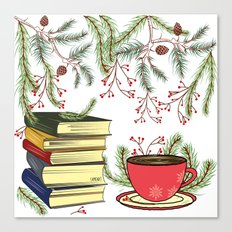 Winter Books and Tea Canvas Print