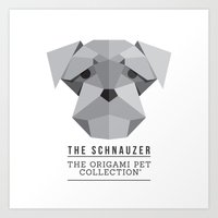 schnauzer Art Prints featuring The Schnauzer by The Origami Pet Collection