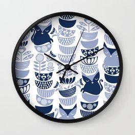 Swedish folk cats III // white background pale and navy blue kitties & bowls Wall Clock