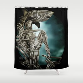 Dolls - Robot Shark Shower Curtain
