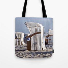 White Beach Chairs on the Isle of Ruegen Tote Bag