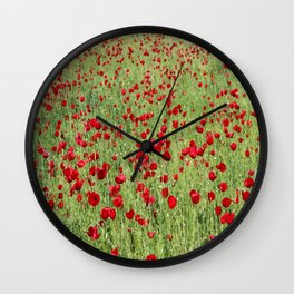 A Pasture Of Red Poppies and Remembrance Wall Clock