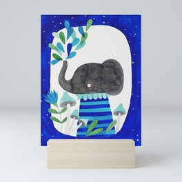 elephant with raindrops in blue watercolor illustration Mini Art Print
