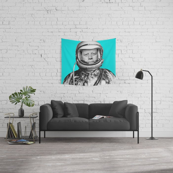 """JFK ASTRONAUT (or """"All Systems Are JFK"""") Wall Tapestry"""