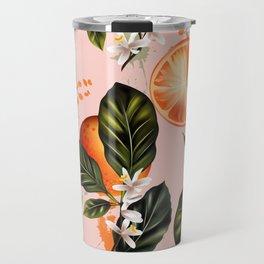 Citrus paradise. Tropical pattern with oranges Travel Mug
