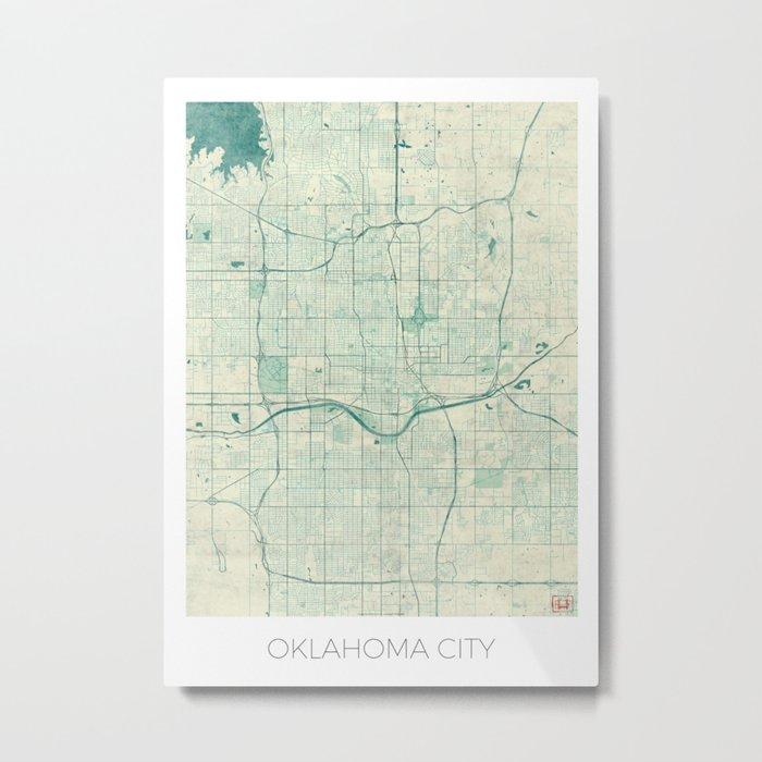 Oklahoma City Map Blue Vintage Metal Print