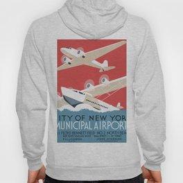 Vintage Airplane Art - City of New York Municipal Airports Hoody