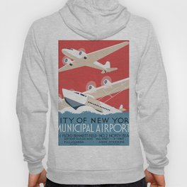 Vintage Airplane Art - City of New York Municipal Airports Hoody