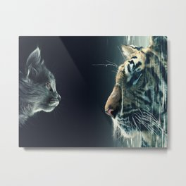 THE CAT LOOKS AT TIGER Metal Print