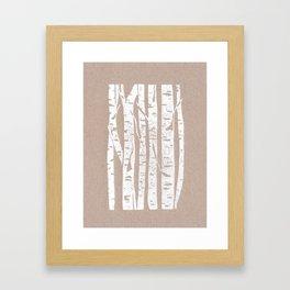 Woodcut Birches Framed Art Print