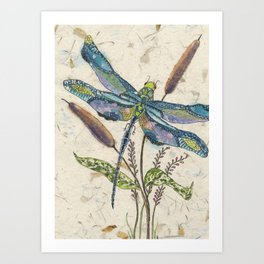 Watercolor Painting,Watercolor Batik,Dragonfly painting, Dragonfly Art Art Print