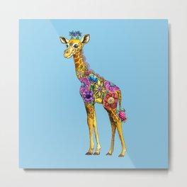 Geraldine the Geniunely Nice Giraffe Blue Metal Print