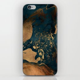 Emerald Indigo And Copper Glamour Marble iPhone Skin