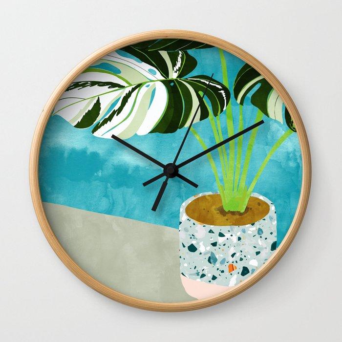 Variegated Monstera #tropical #painting #nature Wall Clock