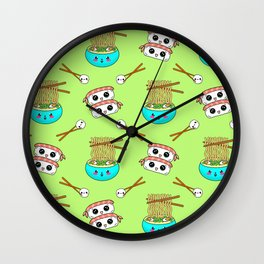 Cute funny Kawaii chibi little blue bowl ramen noodles, happy cheerful sushi with shrimp on top, rice balls and chopsticks pastel lime green pattern design. Nursery decor. Wall Clock
