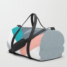 Vertical Chevron Pattern - Teal, Coral and Dusty Blues #geometry #minimalart #society6 Duffle Bag