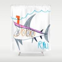 submarine Shower Curtains featuring Shark Submarine by Ryan van Gogh