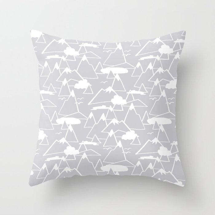 Mountain Scene in Grey Throw Pillow