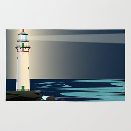 Lighthouse Night Background Rug
