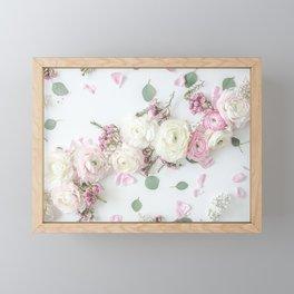 SPRING FLOWERS WHITE & PINK Framed Mini Art Print