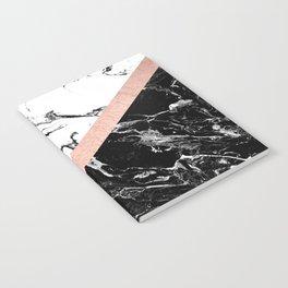 Modern black white marble color block rose gold Notebook